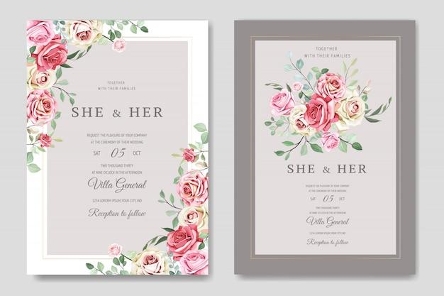 Piękny Szablon Karty ślub Z Pięknymi Kwiatami I Liśćmi Premium Wektorów
