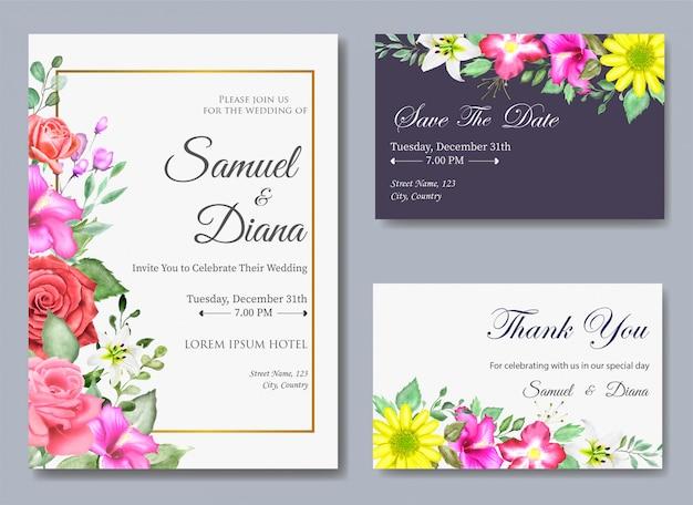 Piękny szablon zaproszenia ślubne akwarela Premium Wektorów