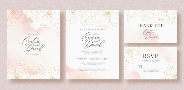 Piękny Szablon Zaproszenia ślubne Z Akwarela Powitalny I Kwiat Premium Wektorów