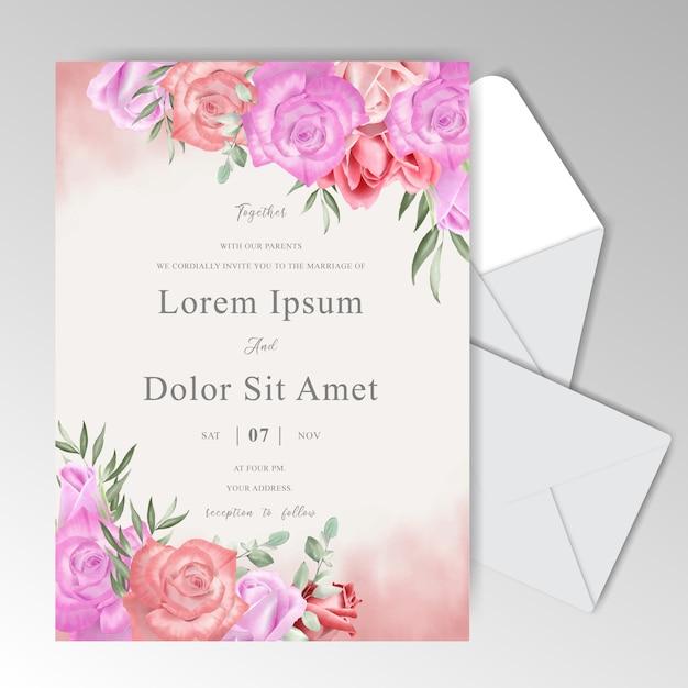 Piękny Szablon Zaproszenia ślubne Z Akwarela Zieleni I Róż Premium Wektorów