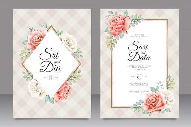 Piękny szablon zaproszenia ślubne z dekoracje kwiatowe Premium Wektorów
