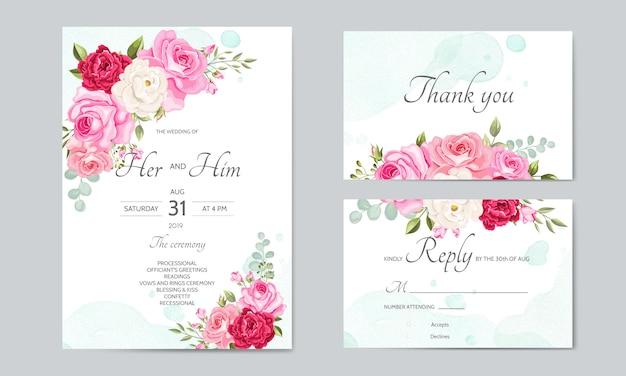 Piękny Szablon Zaproszenia ślubne Z Liści Kwiatowy Premium Wektorów