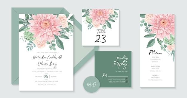 Piękny Szablon Zaproszenia ślubne Z Piękną Akwarelą Dahlia Premium Wektorów