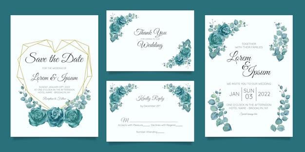 Piękny Szablon Zaproszenia ślubne Zestaw Z Geometryczną Ramą Kwiatowy Premium Wektorów