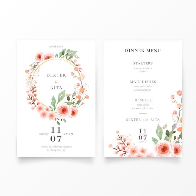 Piękny szablon zaproszenia ślubne Darmowych Wektorów