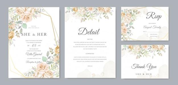 Piękny szablon zaproszenia ślubne Premium Wektorów