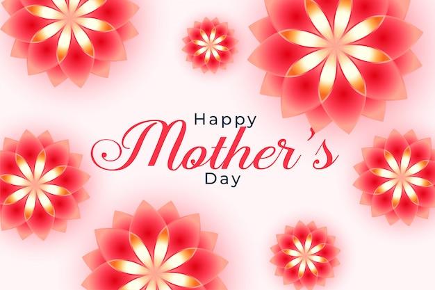 Piękny Szczęśliwy Matka Dnia Kwiatu Tła Projekt Darmowych Wektorów