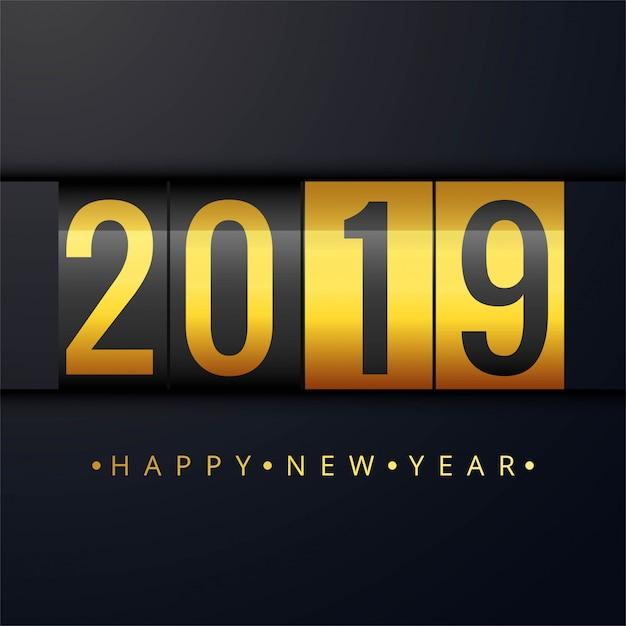 Piękny szczęśliwy nowego roku 2019 teksta festiwalu tło Darmowych Wektorów