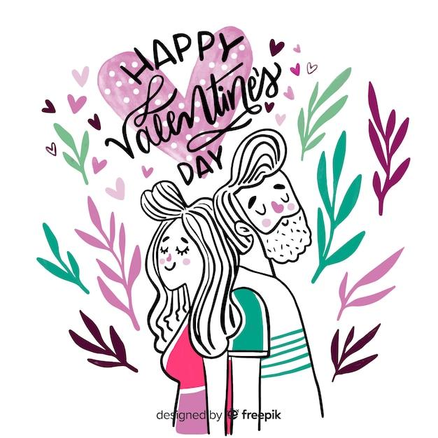 Piękny szczęśliwy valentine napis Darmowych Wektorów
