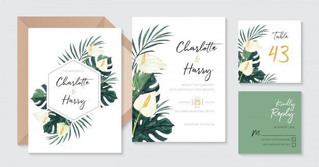 Piękny Tropikalny Zaproszenie Na ślub Z Akwarelą Calla Lily, Monstera I Liśćmi Palmowymi Premium Wektorów