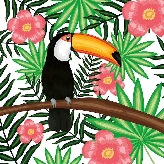 Piękny Tukan Z Dekoracją Egzotycznych I Tropikalnych Kwiatów Premium Wektorów