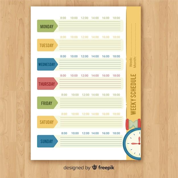 Piękny tygodniowy szablon harmonogram z kolorowym stylu Darmowych Wektorów