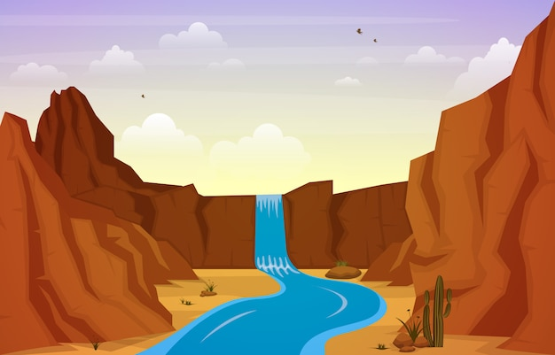 Piękny western pustyni krajobraz z niebo skały falezy góry ilustracją Premium Wektorów