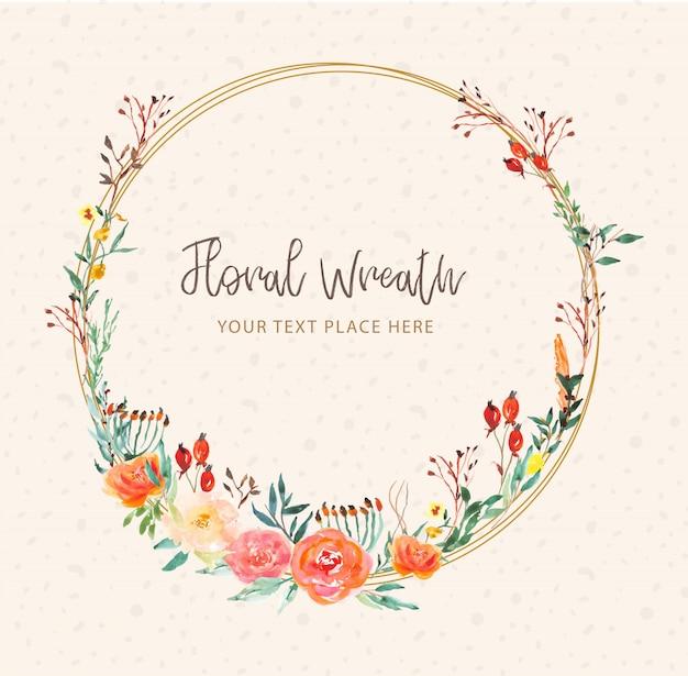Piękny Wieniec Kwiatowy Akwarela Premium Wektorów