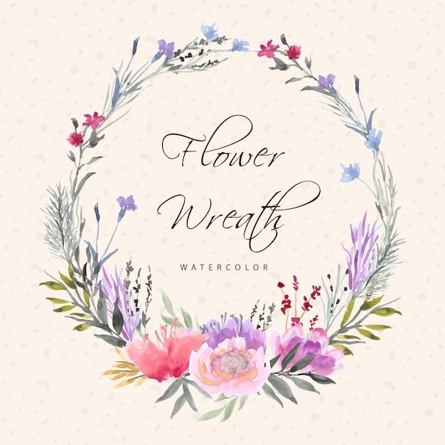Piękny wieniec kwiatowy z akwarelą Premium Wektorów