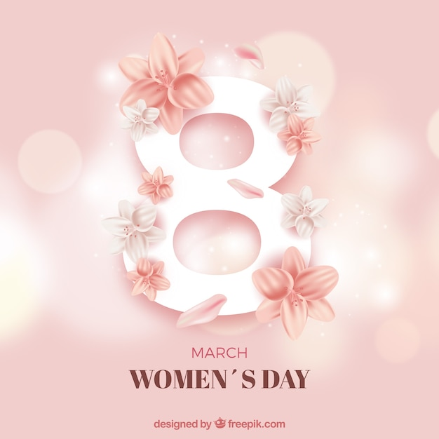 Piękny Womans Dnia Tło Z Liczbą 8 Darmowych Wektorów