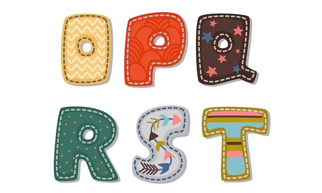 Piękny wydruk na pogrubionych alfabetach czcionek dla dzieci część 3 Premium Wektorów