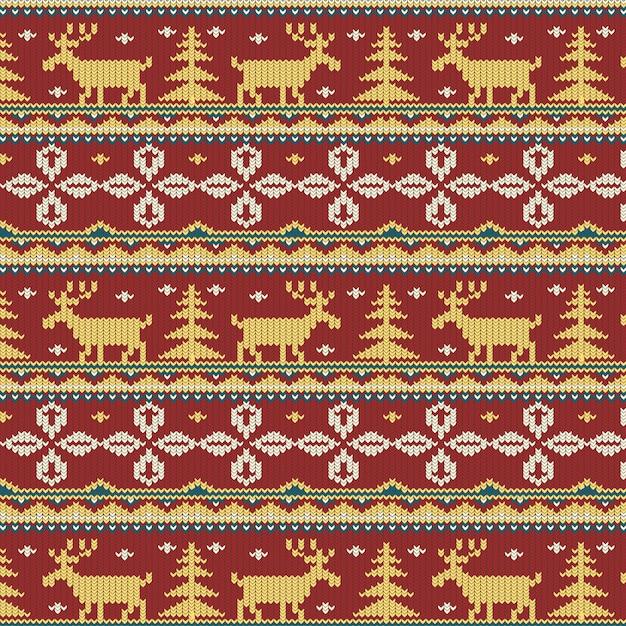Piękny Wzór Dzianiny Boże Narodzenie Darmowych Wektorów