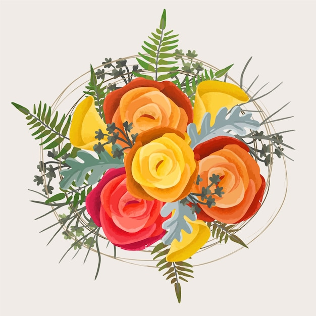 Piękny wzór kwiatowy bukiet Darmowych Wektorów