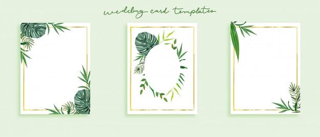 Piękny zestaw szablonów kart ślubnych. Premium Wektorów