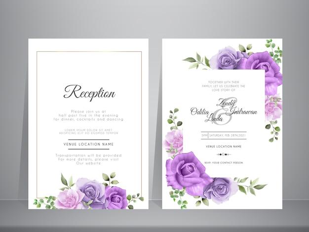 Piękny Zestaw Zaproszenia ślubne Kwiatowy Akwarela Premium Wektorów