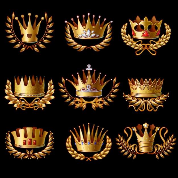 Piękny Zestaw Złotych Koron Królewskich Premium Wektorów