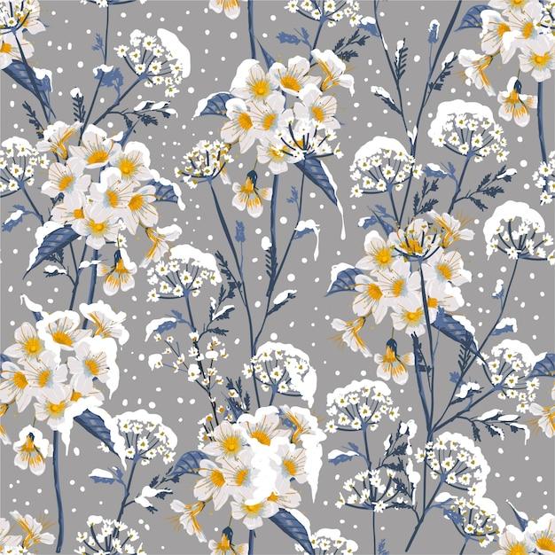 Piękny Zimowy Kwiat Kwitnący W śniegu Delikatny Kwiatowy Wzór Premium Wektorów