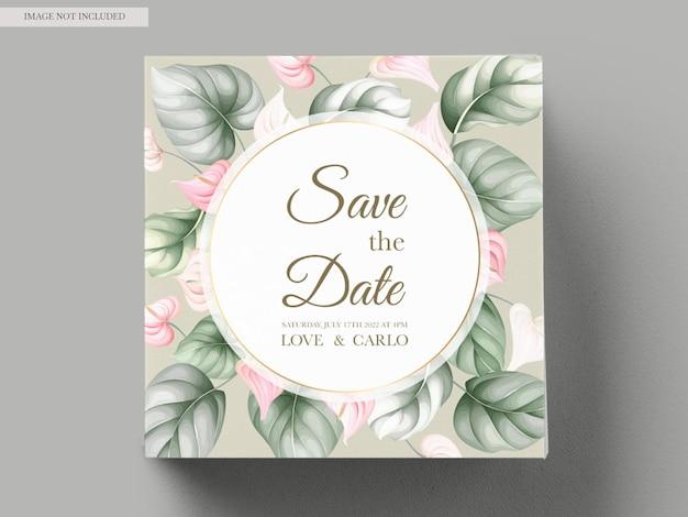 Pięknych, Ręcznie Rysowane Kwiatowy Zaproszenia ślubne Darmowych Wektorów