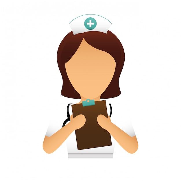 pielęgniarka z obrazem ikony receptę Premium Wektorów