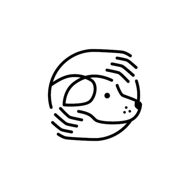 Pielęgnacja Psa Ręka Przytula Logo Ikona Szablon Linia Zarys Monolina Premium Wektorów