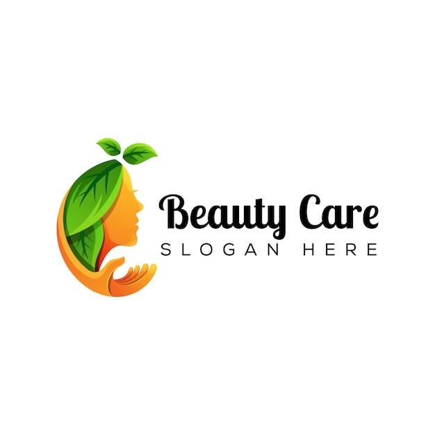 Pielęgnacja Urody Naturalnej Kobiety Z Logo Dłoni Premium Wektorów
