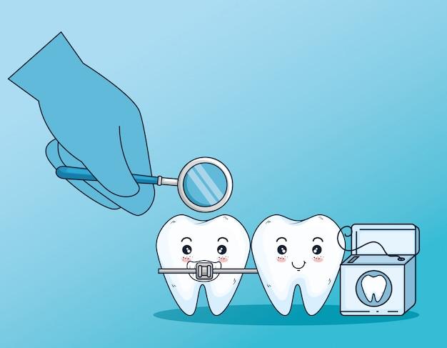 Pielęgnacja zębów z nicią ortodontyczną i dentystyczną Darmowych Wektorów