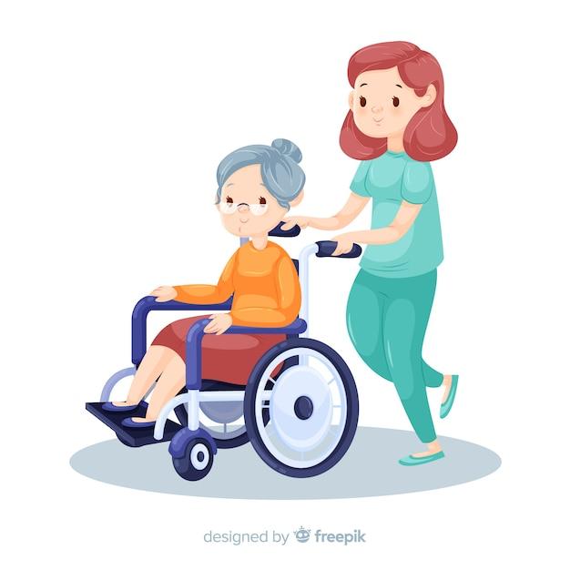 Pielęgniarka pomaga pacjentowi tło Darmowych Wektorów