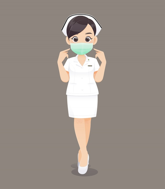 Pielęgniarstwo nosi maskę ochronną, cartoon kobieta lekarz lub pielęgniarka w białym mundurze Premium Wektorów