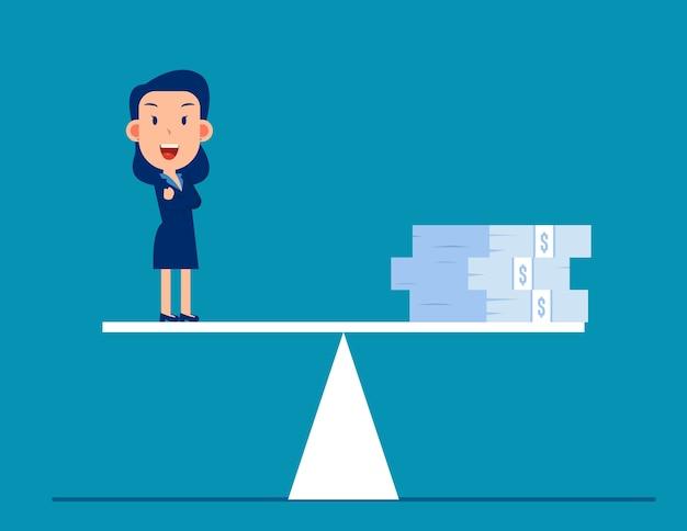 Pieniądze Biznesowe W Skali Równowagi Premium Wektorów