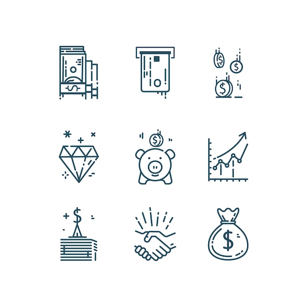 Pieniądze, Finanse Zestaw Ikon Linii. Premium Wektorów