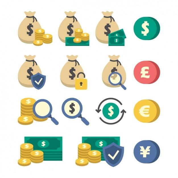Pieniądze ikony kolekcji Darmowych Wektorów