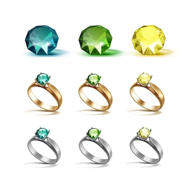 Pierścionki Zaręczynowe Gold Siver Ze Szmaragdowozielonymi I żółtymi Diamentami Premium Wektorów