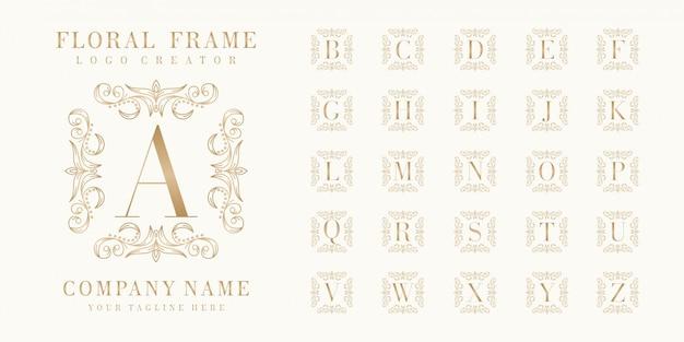 Pierwotny Projekt Logo Bedge Z Ramą W Kwiaty Premium Wektorów