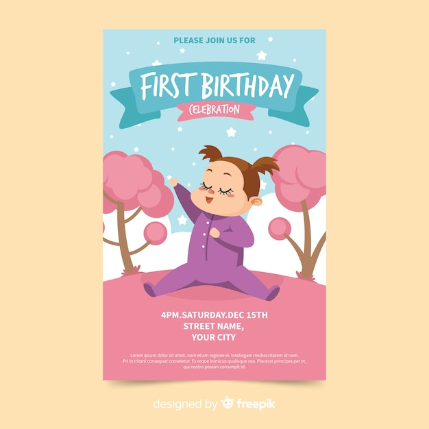 Pierwsza kartka zaproszenie na przyjęcie urodzinowe Darmowych Wektorów