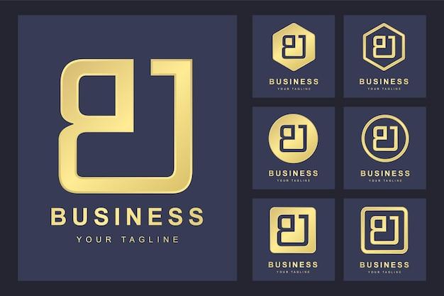 Pierwsza Litera Bj Z Kilkoma Wersjami, Elegancki Złoty Szablon Logo Premium Wektorów