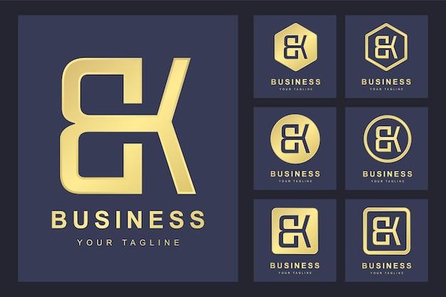 Pierwsza Litera Bk Z Kilkoma Wersjami, Elegancki Złoty Szablon Logo Premium Wektorów
