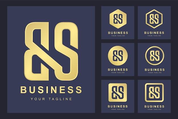 Pierwsza Litera Bs Z Kilkoma Wersjami, Elegancki Złoty Szablon Logo Premium Wektorów