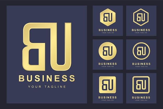 Pierwsza Litera Bu Z Kilkoma Wersjami, Elegancki Złoty Szablon Logo Premium Wektorów