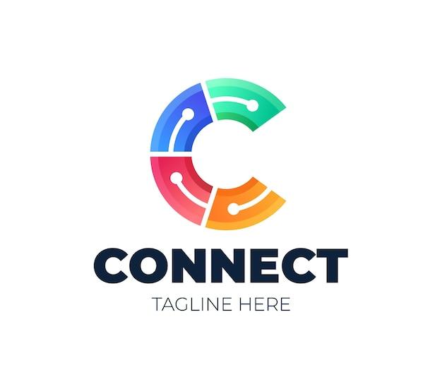 Pierwsza Litera C Logo Symbol Połączonego Koła. Element Szablonu Projektu Premium Wektorów