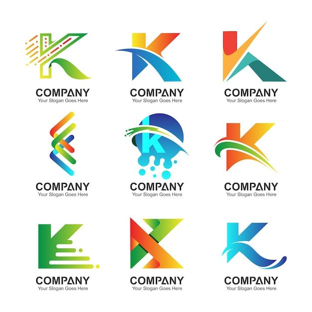 Pierwsza Litera K Kolekcja Logo Premium Wektorów