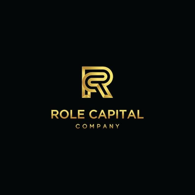 Pierwsza litera rc logo linii nakłada się szablon wektor Premium Wektorów