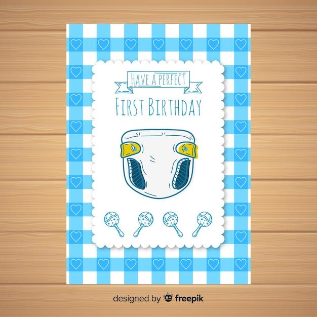Pierwsze Urodziny Ręcznie Rysowane Szablon Karty Pieluchy Darmowych Wektorów