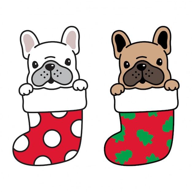 Pies buldog francuski boże narodzenie kreskówka Premium Wektorów