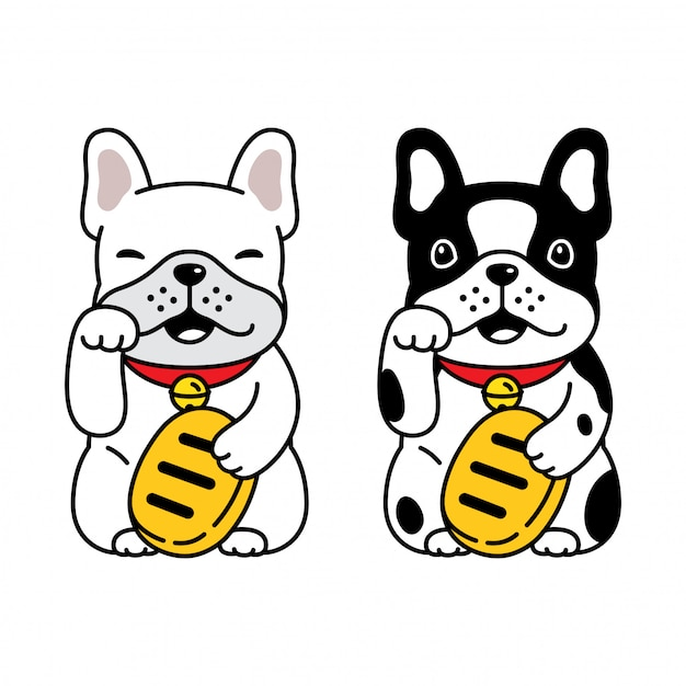 Pies Buldog Francuski Szczęśliwy Kot Maneki Neko Kreskówka Premium Wektorów